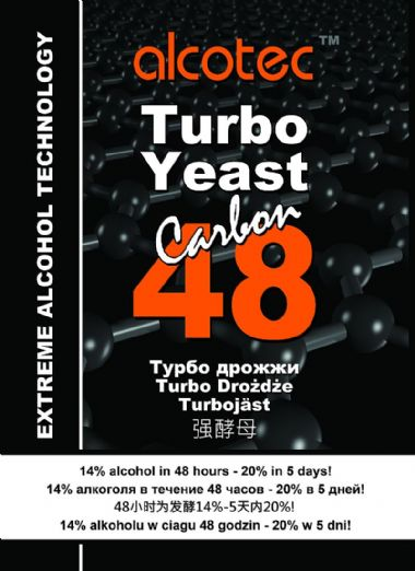 Alcotec 48 Carbon Turbo Yeast (NEW, contains activated carbon for purity)